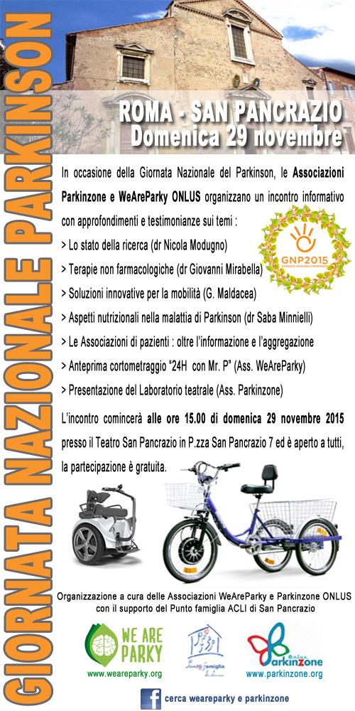Giornata Nazionale Parkinson – Roma, Teatro San Pancrazio (Gianicolo), 29 novembre ore15:00